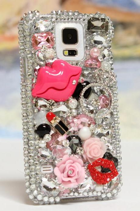 Bling Crystals Phone Case for iPhone 6 / 6s, iPhone 6 / 6s PLUS, iPhone 4, 5, 5S, 5C, Samsung Note 2, Note 3, Note 4, Galaxy S3, S4, S5, S6, S6 Edge, HTC ONE M9 (LIPSTICK LOVERS DESIGN) By LuxAddiction