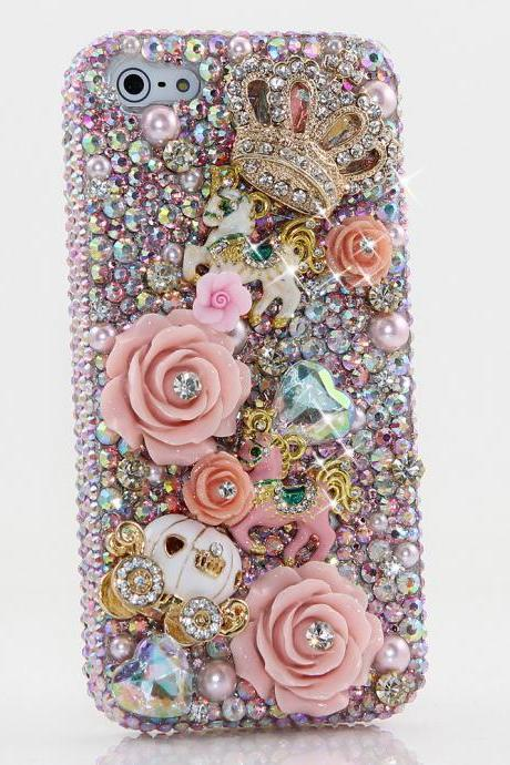 Bling Crystals Phone Case for iPhone 6 / 6s, iPhone 6 / 6s PLUS, iPhone 4, 5, 5S, 5C, Samsung Note 2, Note 3, Note 4, Galaxy S3, S4, S5, S6, S6 Edge, HTC ONE M9 (FAIRYTALE PRINCESS DESIGN) By LuxAddiction