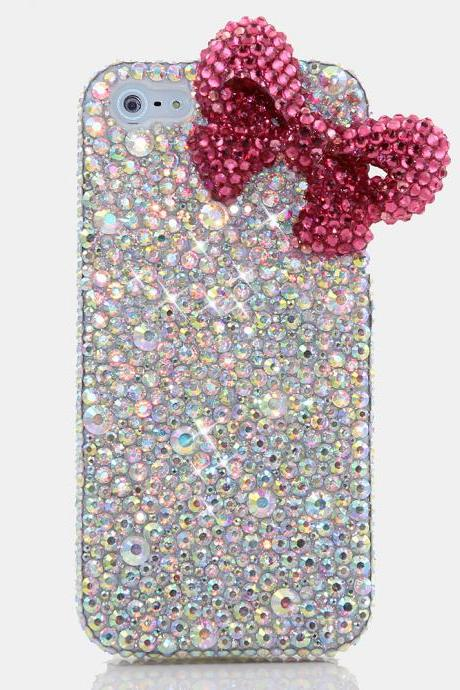 Bling Crystals Phone Case for iPhone 6 / 6s, iPhone 6 / 6s PLUS, iPhone 4, 5, 5S, 5C, Samsung Note 2, Note 3, Note 4, Galaxy S3, S4, S5, S6, S6 Edge, HTC ONE M9 (FUSHIA BOW WITH AB CRYSTALS DESIGN) By LuxAddiction