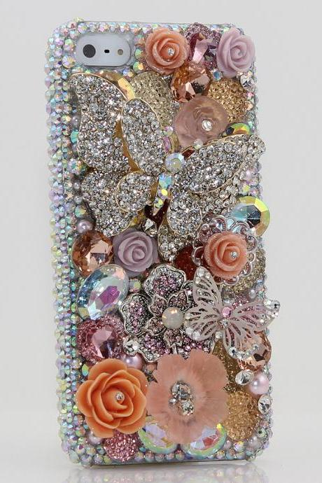 Bling Crystals Phone Case for iPhone 6 / 6s, iPhone 6 / 6s PLUS, iPhone 4, 5, 5S, 5C, Samsung Note 2, Note 3, Note 4, Galaxy S3, S4, S5, S6, S6 Edge, HTC ONE M9 (BUTTERFLY WONDERLAND DESIGN) By LuxAddiction