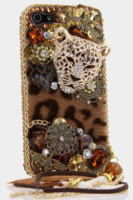 Bling Crystals Phone Case for iPhone 6 / 6s, iPhone 6 / 6s PLUS, iPhone 4, 5, 5S, 5C, Samsung Note 2, Note 3, Note 4, Galaxy S3, S4, S5, S6, S6 Edge, HTC ONE M9 (LUX LEOPARD DESIGN WITH PHONE CHARM) By LuxAddiction