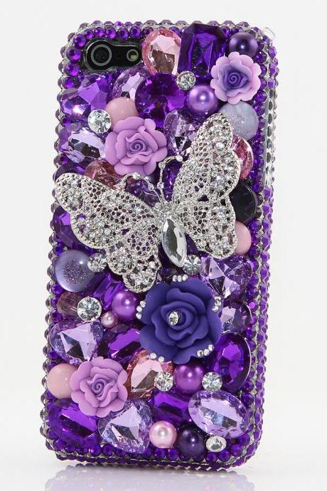 Bling Crystals Phone Case for iPhone 6 / 6s, iPhone 6 / 6s PLUS, iPhone 4, 5, 5S, 5C, Samsung Note 2, Note 3, Note 4, Galaxy S3, S4, S5, S6, S6 Edge, HTC ONE M9 (PURPLE BUTTERFLY DESIGN) By LuxAddiction