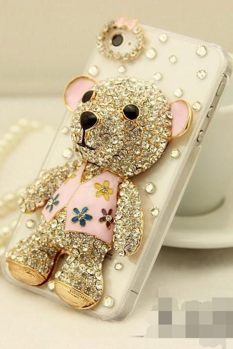 6c 6s plus Cute Teddy Bear diamond Hard Back Mobile phone Case Cover bling Rhinestone Case Cover for iPhone 4 4s 5 7plus 5s 6 6 plus Samsung galaxy s7 s4 s5 s6 note5 4