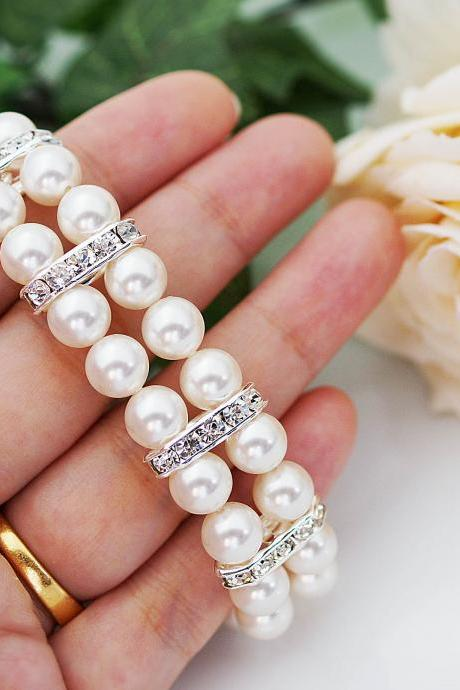 Wedding Jewelry Bridal Bracelet Bridesmaid Bracelet 2 strands of Crystal White Swarovski Pearls with rhinestone Spacers Bracelet