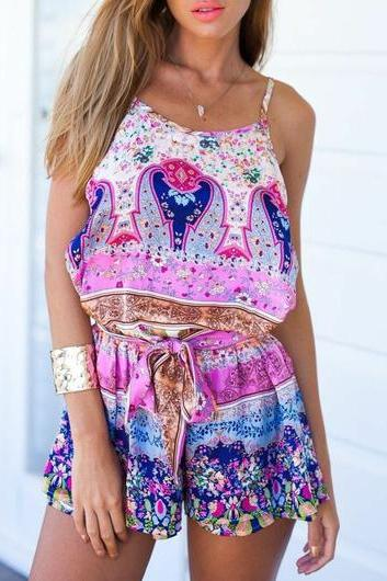 New Design Belted Printed Spaghetti Strap Straight Romper