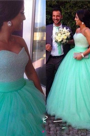 Real Evening Dresses, Sweetheart Neckline Prom Dresses, Beading Party Dresses, Ball Gown Prom Dresses, Tulle Blue Evening Gowns, Floor Length Formal Dresses