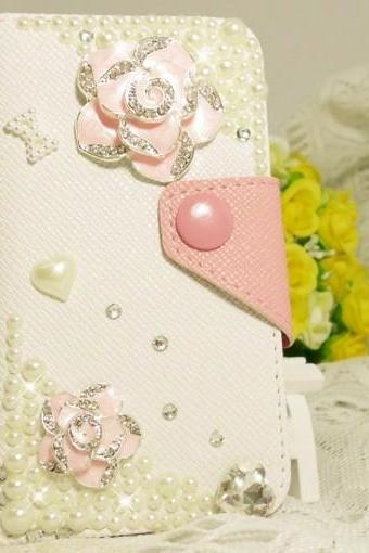 6c 6s plus Sparkly Pearl floral Hard Back Mobile phone Case Cover bling girly wallet Case Cover for iPhone 4 4s 5 7 5s 6 6 plus Samsung galaxy s7 s4 s5 s6 note5edge 4
