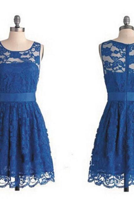 Lace Bridesmaid Dress, Royal Blue Bridesmaid Dress, Junior Bridesmaid Dress, Short Bridesmaid Dress, Cute Bridesmaid Dress, Affordable Bridesmaid Dress, Wedding Party Dress