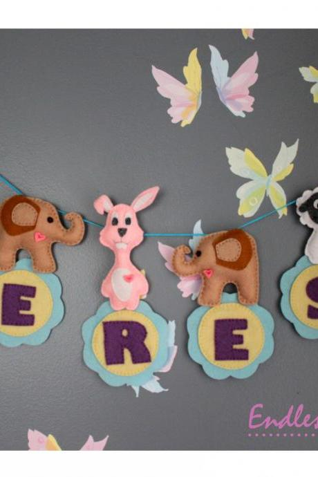 Felt Personalized Animal Name Banner - 6 Letters - FREE SHIPPING for U.S & Canada