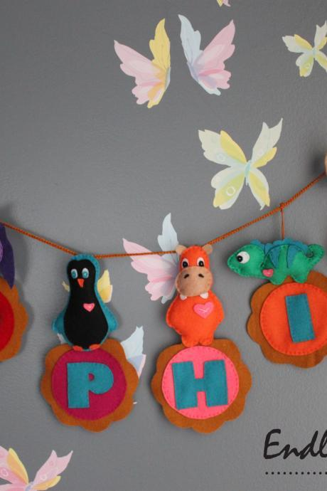 Personalized Animal Felt Name Banner - 6 Letters - FREE SHIPPING for U.S & Canada