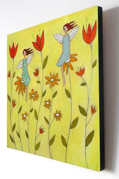 Large Wood Block Print Flower Fairies Painting - Flower fairies