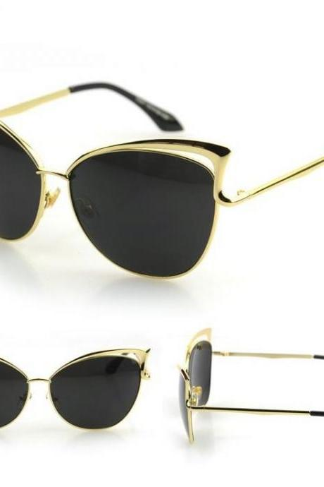 Black Cat-Eye Sunglasses With Gold and Cutout Details