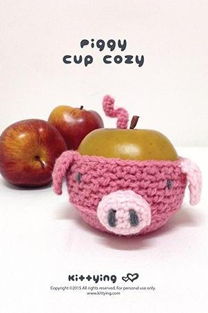 Crochet Pattern Piggy Fruit cozy Apple protector Pig Mug Sleeve Piggie Cup warmer Oink Mug holder Apple cozy Mug cozy Cup cozy
