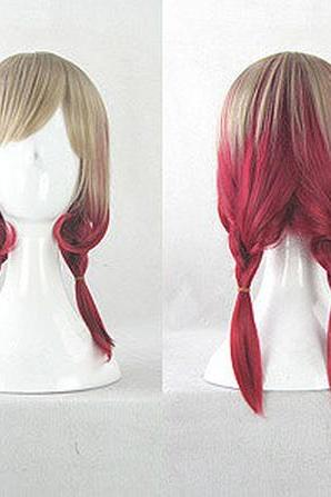 Larry Rose Anime Short Tails And Linen Harajuku gradient Rose Curly Wig
