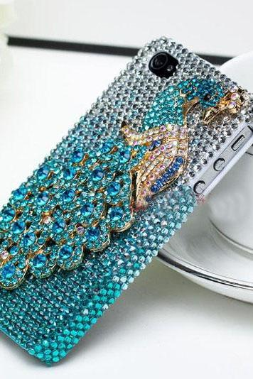 6s plus 6c Beautiful Blue Peacock Rhinestone Hard Back Mobile phone Case Cover bling Case Cover for iPhone 4 4s 5 7 5s 6 6 plus Samsung galaxy s7 s4 s5 s6 note10 4