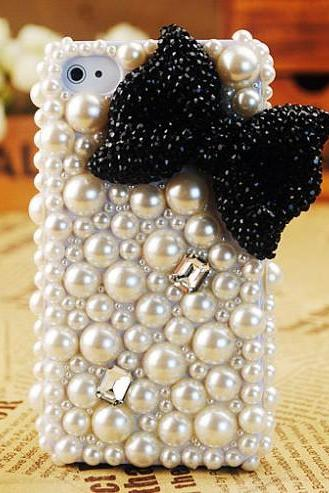 6s plus 6c Cute bow pearl diamond Hard Back Mobile phone Case Cover bling girly Rhinestone Case Cover for iPhone 4 4s 5 7 5s 6 6 plus Samsung galaxy s7 s4 s5 s6 note8.0 4