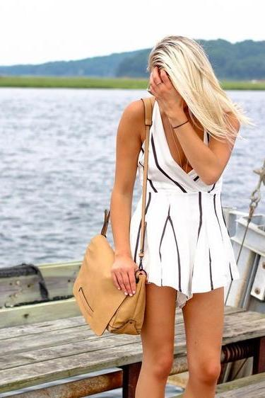 HOT BLACK WHITE ROMPER PLAYSUIT