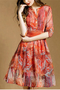 The new summer temperament of restoring ancient ways v-neck posed long printing chiffon dress in the waist LYD