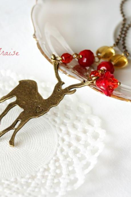 Woodland secrets, Autumn Deer necklace, in amber yellow, red, orange