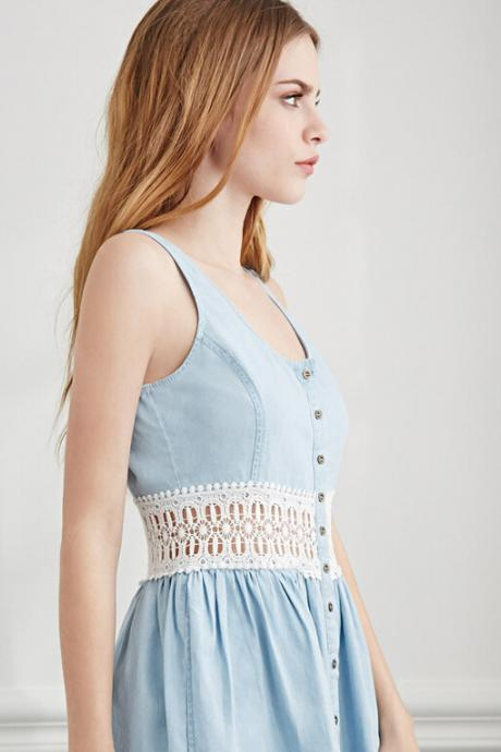 Denim Sleeveless Skater Dress Featuring Scoop Neckline, Button Front, and Crochet Lace