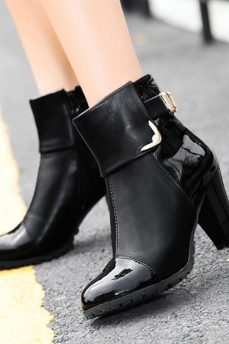 New 2016 Fashion Women's Ankle Boots Thin High heels Platform Pumps Shoes Winter Warm Snow Boots For women