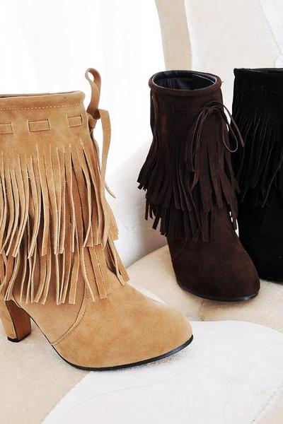 2016 Winter New Arrival pointed high heels pump shoes fringed suede boots