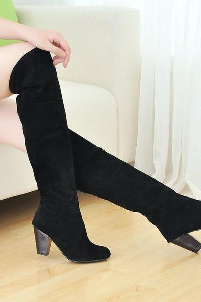 Fashion women boots shoes black suede high-heeled knee boots Knight boots 3 colors women motorcycle boots