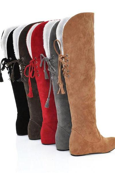 Fashion snow boots fashion winter back lace up knee high boots for women