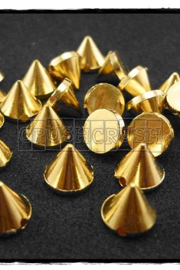 50pcs 10mm Acrylic Cone Spikes Beads Charms Pendants Decoration Gold-X53