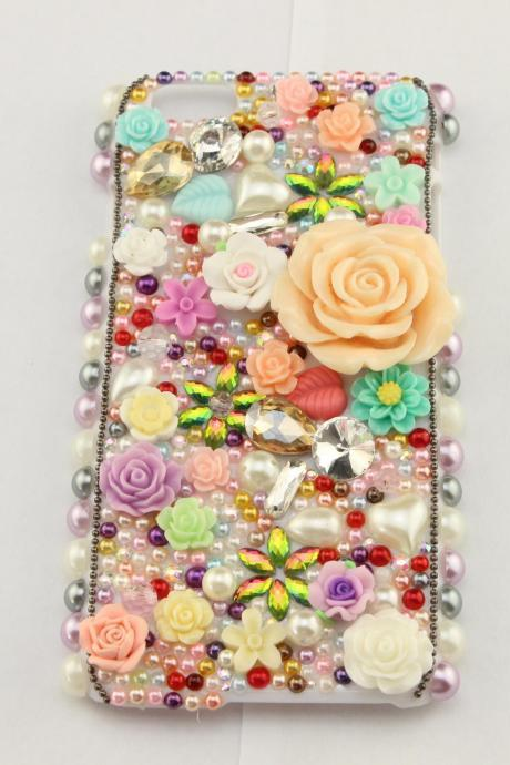 6c 6s plus Colorful floral Hard Back Mobile phone Case Cover sparkly pearl handmade crystal Case Cover for iPhone 4 4s 5 7 5s 6 6 plus Samsung galaxy s7 s4 s5 s6 note5 4