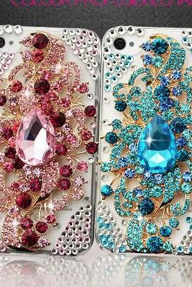 6c 6s plus Peacock Rhinestone Hard Back Mobile phone Case Cover bling handmade crystal Case Cover for iPhone 4 4s 5 7plus 5s 6 6 plus Samsung galaxy s7 s4 s5 s6 note5edge 4