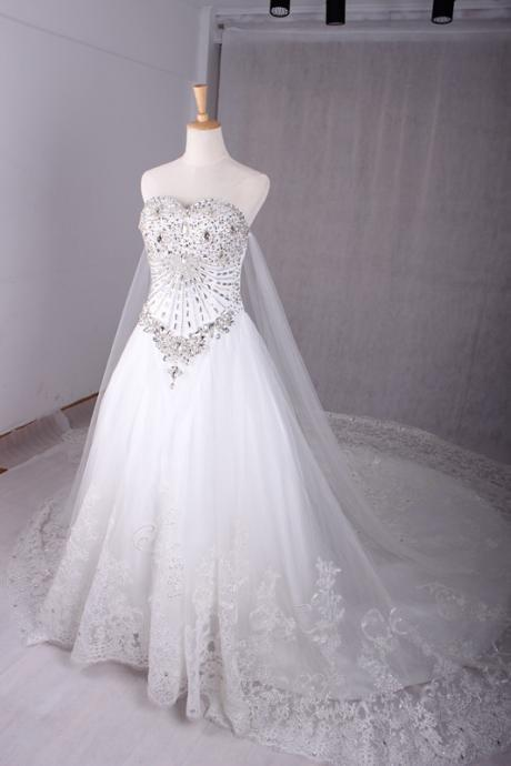 Romantic Crystals Wedding Dress, Bridal Gown, Wedding Gowns
