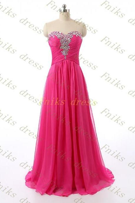 2015 Fuchsia Prom Dress, Sexy Backless Party Dress, Formal Woman Evening Dress, Beaded Top Prom Dress, A Line Cheap Celebrity Dress, Plus Size Evening Gowns