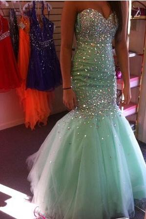 Crystals Mermaid Prom Dress, Party Dress, Evening Dress