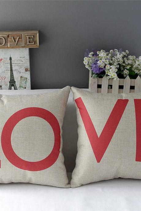 High Quality 2 pcs a set LOVE Cotton Linen soft Comfortable Pillow Cover Cushion Cover 45cmx45cm