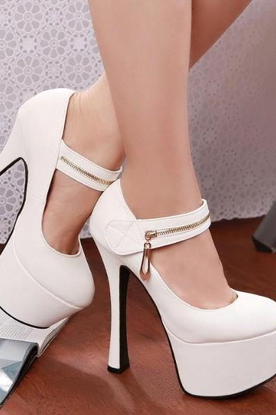 Sexy Zip Up Front Design White High Heels Fashion Shoes