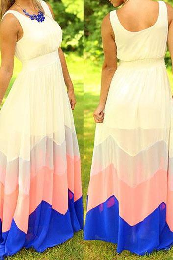 Color Block Chiffon Round Neck Maxi Dress