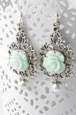 Mint Bridesmaid earrings, Mint earrings, Mint rose earrings, Mint wedding Jewelry, bridesmaid jewelry, shabby chic earrings, flower earrings, Bridesmaid gift