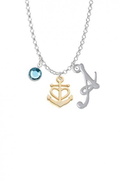 Gold Tone Anchor with Heart Charm Necklace with Gelato Initial and Crystal Drop NC-Channel-C6034-SmGelato-F2301