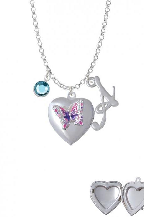Pink & Purple Butterfly Locket Charm Necklace with Gelato Initial and Crystal Drop NC-Channel-C4977-SmGelato-F2301