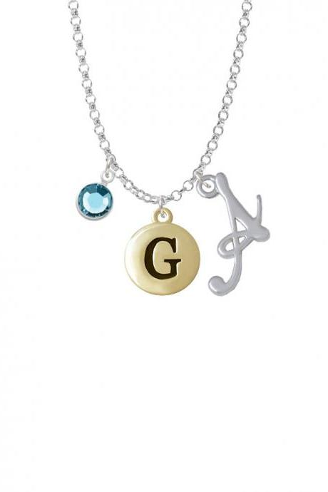 Capital Gold Tone Letter - G - Pebble Disc - Charm Necklace with Gelato Initial and Crystal Drop NC-Channel-C5158-SmGelato-F2301