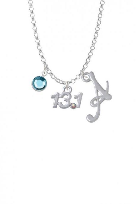 Half Marathon - 13.1 with Clear AB Crystal Charm Necklace with Gelato Initial and Crystal Drop NC-Channel-C4955-SmGelato-F2301