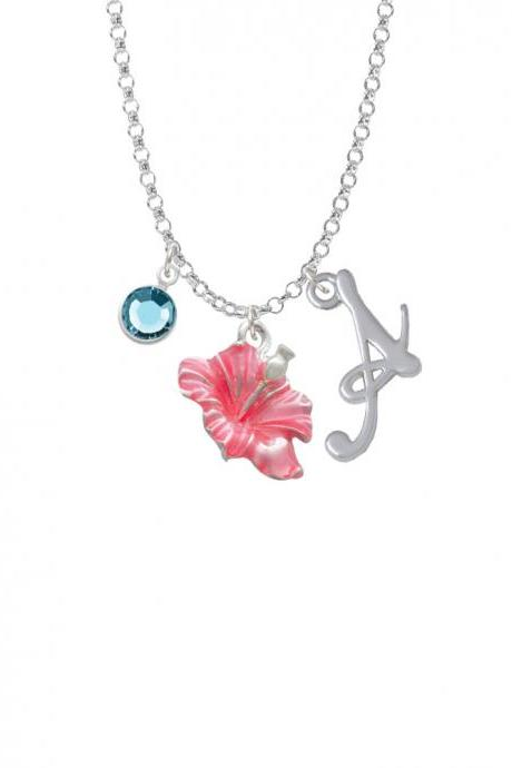 Hot Pink Hibiscus Flower Charm Necklace with Gelato Initial and Crystal Drop NC-Channel-C2435-SmGelato-F2301