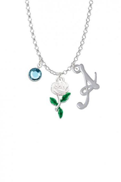 White Rose Flower Charm Necklace with Gelato Initial and Crystal Drop NC-Channel-C4873-SmGelato-F2301