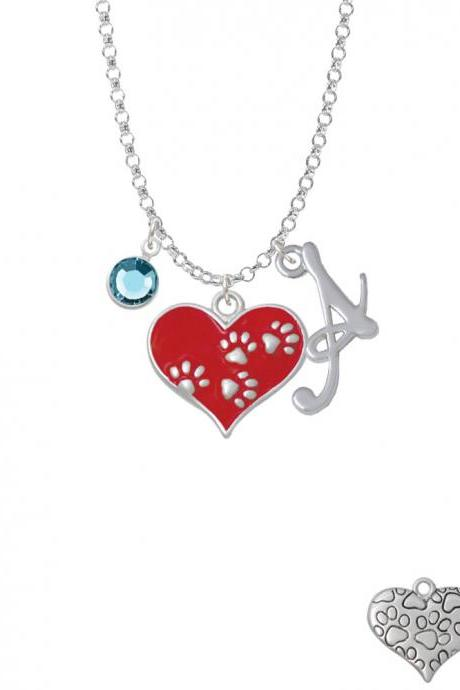Red Enamel Heart with Paw Prints Charm Necklace with Gelato Initial and Crystal Drop NC-Channel-C4820-SmGelato-F2301
