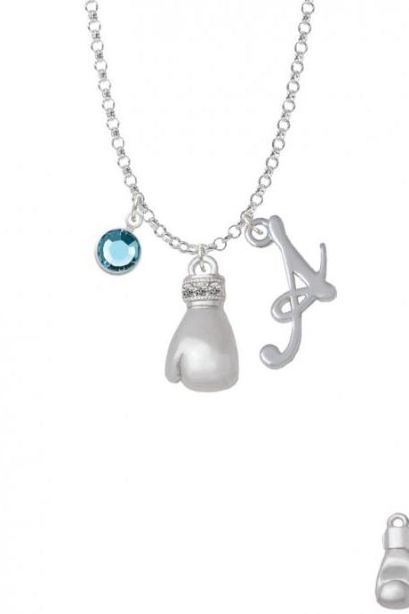 Large Boxing Glove Charm Necklace with Gelato Initial and Crystal Drop NC-Channel-C5856-SmGelato-F2301