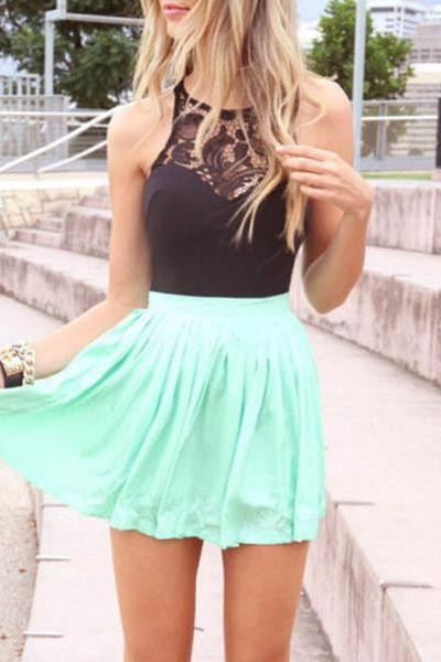 Mint green skirt black lace top dress