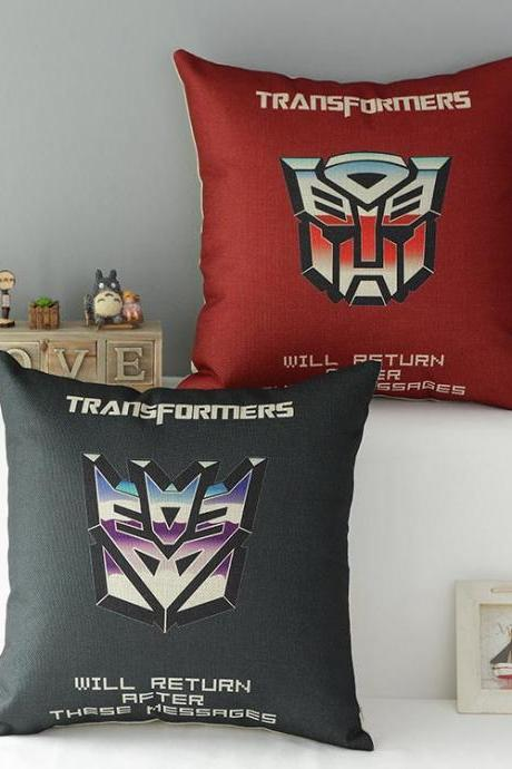 High Quality 2 pcs a set Transformers Cotton Linen Home Accesorries soft Comfortable Pillow Cover Cushion Cover 45cmx45cm