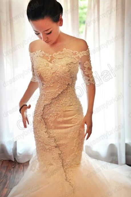 Tulle Mermaid Wedding Dresses 2015, Wedding Dresses On Sale,Lace Pearls Wedding Dresses, Off the Shoulder Wedding Dresses, Sexy Wedding Dresses, Custom Wedding Dresses