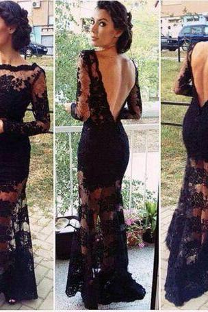 Long Sleeve Prom Dresses, Black Evening Gowns, Lace Evening Dress, Backless Evening Dresses, Floor Length Evening Gowns, Custom Made Party Dress, Sheer Formal Dress